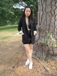 Juliet Ly - Ann Taylor Blazer, Mr. Kate Necklace, American Apparel Black Skirt, Converse Sneakers - Sport Luxe 2