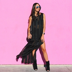 Samira Radmehr - Forever 21 Dress, Lf Stores Booties, Ray Ban Aviators, The Kooples Sidebag - That Pink Wall