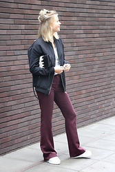 Jint B. - Costes Fashion Flared Pants, Costes Fashion Bomber Jacket, Superga Sneakers - Costes x ELLE