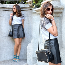 Silvia Rodriguez - Rich & Royal Shirt, Rich & Royal Skirt, Liu Jo Bag, Salvatore Ferragamo Sunglasses - Leather skirt