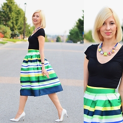 Tatiana M - Romwe Skirt, H&M Tshirt, Zara Necklace, Asos Shoes - 50's Stripes