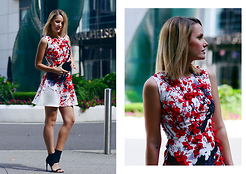 L M - Romwe Floral Applique Dress, Other Stories Black Sandal Booties - Urban cherry blossom