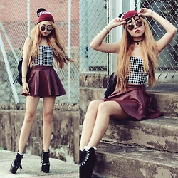Lindsay Voitton - H&M Burgundy Beanie, Forever 21 Heart Reflective Sunnies, Mds Collections Grid Bustier, Dolce & Gabbana Black Buckle Bag, Charlotte Russe Lace Up Booties - Grid me in Leather