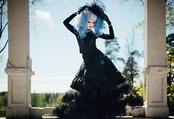 Saija Sasetar - Wig Is Fashion Silver Blue, Corset Story High Neck Victorian Blouse, Corset Story Frilly Gothic Buckle Skirt, Corset Story Massive Tulle Skirt, Vintage Black Lace Gloves - Victorian Goth