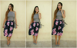 Pooja Mittal - Floral Pleated Skirt - Feeling Fancy-BiG Floral Skirt with Crop top