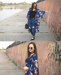 Ann Kos - Newdress Kimono, Oasap Jeans, Newdress Leather Necklace, Chic Wish Backpack, Giant Vintage Sunglasses, Newdress Shoes - FLORAL KIMONO