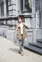 Martin Bonke - New Blog On Fckhim.Com!, Zara Camel Trench Coat, Maison Martin Margiela Confetti Tee, H&M Salt And Pepper Pants - Classic Trench.