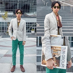 FL JU - H&M Blazers Linen, Asos Tshirts, London Scarf, H&M Chinos, River Island Shoes - FOLLOW YOUR HEART