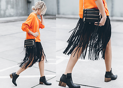 Mikuta - Monki Sweater, Zara Skirt, Circus By Sam Edelman Boots, Rebecca Minkoff Bag, Sarenza Bag - ORANGE & FRINGE