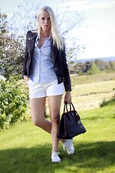Kriste - Nly Design Structured Biker Jacket, Gerry Weber Sriped Shirt, Calvin Klein White Sneakers - Casual