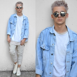 StreetFashion101 - Thrifted Denim Jacket, New Yorker Sweater, H&M Joggers, Zara Sneakers, Choies Sunglasses - Cream all the Way