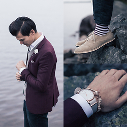 Chris Nicholas - Thread Etiquette Watch, Thread Etiquette Bracelet, Indochino Maroon Blazer, Dappered Man Lapel Flower, Sprezza P Square, Cole Haan Suede, Bedford & Broome Socks, Levi's® 511 - 164