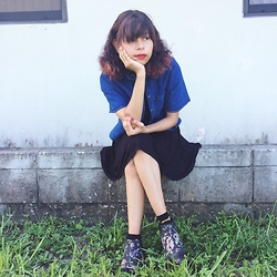 Brisa Gomez - The Fifth Label Denim Top, Cooperative Babydoll Dress, Nasty Gal Booties, Asos Dog Socks - Self Identity
