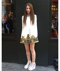 Louise Herron - White Baroque Embossed Dress, Diy By Me :) Embellished Sequin Tights, Platform Sport Luxe Peep Toe Wedge - London fashion week lfw
