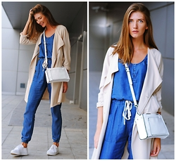 Yulia Sidorenko - Choies Denim Jumpsuit, H&M Trench Coat, Zara Bag, H&M Sneakers - Denim jumpsuit