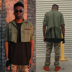 Vernon M. - Army Jacket (Dad), Forever 21 Black Long Tee, Dockers Camo Khakis - Taking chances