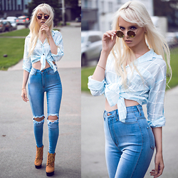 Oksana Orehhova - Choies Shirt, Fashion Nova Jeans, Choies Necklace, Choies Sunglasses - CALIFORNIA DREAMER