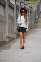 Tamy's Fashion World - H&M Hat, Zara Sweatshirt, Aldo Bag, Dobra Mačka Shoes - Black skirt