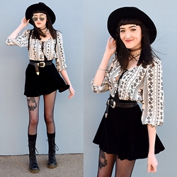 Kaicee Clare - Supre Peasant Top, Asos Western Belt, Dr. Martens 1914, Asos Fedora - You're The One I Want To Want Me