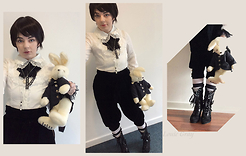 "Lou Graves - Angelic Pretty White Frill Blouse, Queen Bee Black Velvet Boots, Innocent World ""Frederick"" Stuffed Rabbit Backpack, Priscilla Short Brown Wig - Bunny Prince"
