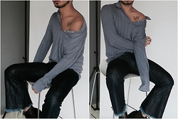 Mingboy Hwang - Lambo Knits Shirt, Marques'almeida Denim Jeans, Acne Studios Ankle Boots - Off Shouldering