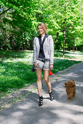 Elena Barolo - French Connection Uk Jacket, French Connection Uk Shorts, Vic Matie Boots, Azzurra Gronchi Clutch, H&M Top - Best friends