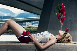 Sheena Son - American Apparel Sporty Shorts - Red Ginger Flowers swallow me