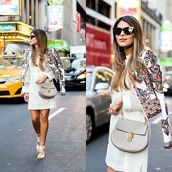 Pam Hetlinger - Bcbg Embroidered Jacket, Bcbg White Dress - NYFW in BCBG