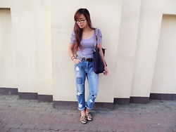 Katrina Enrera - Zara Stripes Top, Longchamp Shoulder Bag - Blue Jeans On