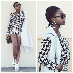 SGTURNINGPOINT.COM - H&M Monochrome Shorts, Forever 21 Sleeveless Blazer, Diva's Of London Nose Ring / Bijoux Nez, Nasty Gal Monochrome Houndstooth Shirt, Asos Square Bag, Boohoo Zip Front Peeptoe Cleated Heel - BYE BYE SUMMER | Monochrome @TURNINGBLOG