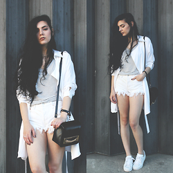 CLAUDIA Holynights - Chic Wish Trench Coat, Adidas Sneakers - White with a pinch of black.