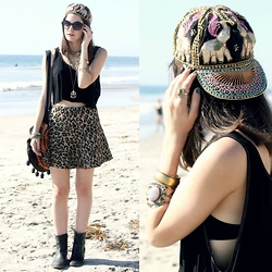Lexi L - Vintage Embroidered Elephant Hat, American Apparel Diy Crop Tank, Free People Cheetah Skirt, The Frye Company Ankle Boots, Second Hand Embroidered Cross Body Bag - Wild