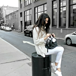 Florencia R - The Design Republik Cowl Knit, Fashion Nova White Jeans, Nike Air Max Thea, Linea Pelle Eden Bag - White + cream