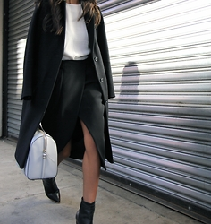 Linh Niller - Loeffler Randall Leather Booties, J.Crew Wool Coat - Minimalistic