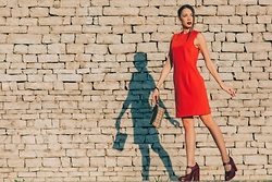 Blertina Shabani - Versace Orange Dress, Burberry Printed Clutch, Miu Chunky Heel - Girl and her Shadow.