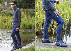 Ronan Summers - Ted Baker Ribbed Funnel Neck Jumper, Ted Baker Blue Chinos, Ted Baker Espalo Rubber Boots - Ted to Toe