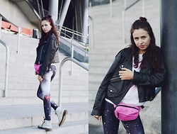 Ola Brzeska - Second Hand Ramones Jacket, Zaful Galaxy Leggings, Martens - Galaxy