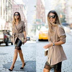 Pam Hetlinger - Reiss Cropped Trench, Reiss Leather Skirt - Soho