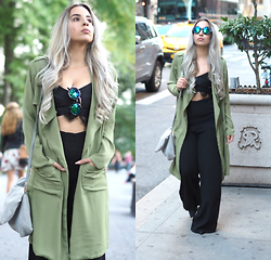 Dianna Hughes - Cameo The Label Lace Top - Green Duster in the city.