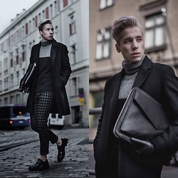 Janne Naakka - Roberto Collina Pullover, Sisley Coat, Topman Trousers, Tiger Of Sweden Bag, Zign Shoes - BACK TO BLACK