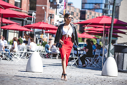Jessi Malay - All Saints Brooklyn Leather Biker Jacket, A.L.C. Baker Belt Detail Skirt, Saint Laurent Monogramme Crossbody In Croc, Dior So Real, Tony Bianco Mules - NYFW 4 | AllSaints