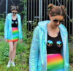 Nichola Rose - Minga Crop Top, Dolls Kill Skirt, Pretty Little Thing Rain Coat - RAINBOW