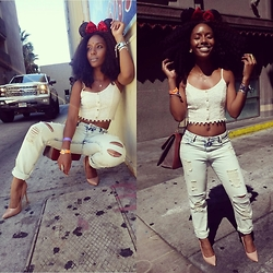 D. Marissa - Signature 8 Boyfriend Jeans, Paper Cane Lace Crop Top, Disneyland Minnie Mouse Ears, Lily's Closet Boutique Faux Suede Stilettos - Wonderland.Sunday