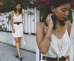 Stephanie Liu - Alexis Bittar Necklace, Yaya Aflalo Dress - Gold and Striped