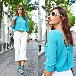 Silvia Rodriguez - Salvatore Ferragamo Sunglasses, Liu Jo Blouse, Nine West Sandals - CULOTTES