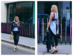 L M - Mayrafedane Patchwork Leather Bag, Zara Two Layer Top, Noritamy Silver Cuff - LFW look one