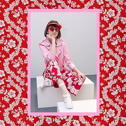 Flower Perdew - Cheek Ldn Pink Leather Jacket, Cheek Ldn Hawaiian Pants, Juju Jellies - London Fashion Week 2015