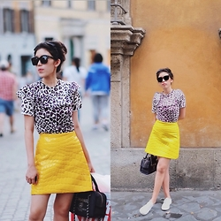 Mimi N. - Miu Leopard Top, Miu Faux Croc Skirt, Chanel Bag - Prints on Prints