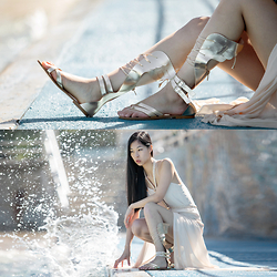 Cissy Zhang - Kito 1981 Gold Wing Sandals, Ixiah Rose Gold Dress - Warrior