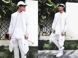 Ronwell Lim - H&M Baseball Cap, Zara Jacket, H&M White Chinos, Bershka Retro Sports Shoes - WhiteOut